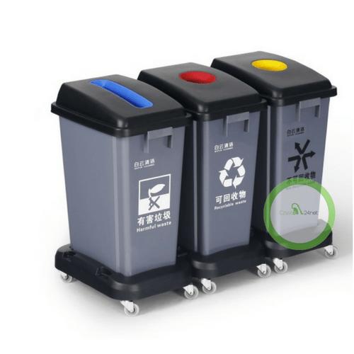 Nietypowy Okaz Kosz 3-komorowy do segregacji odpadów. QV59